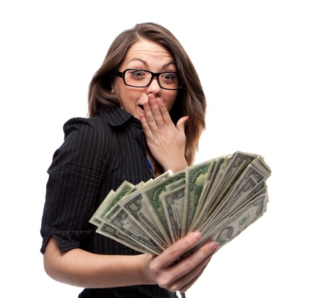 happy rich woman: Woman and money. Isolated over white.