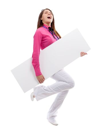 Woman with blank placard. Isolated over white. photo