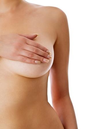 beaux seins: Femme tenant sa poitrine Banque d'images