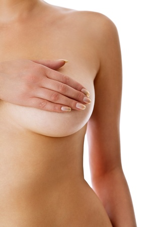 breast examination: Woman holding her breast Stock Photo