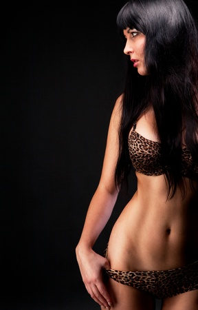woman in leopard linergie over dark Stock Photo - 12529172