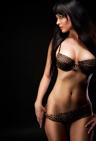 nude sexy girl: woman in leopard linergie over dark