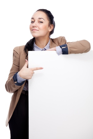 businesswoman card: Young businesswoman with blank board. Isolated over white. Stock Photo