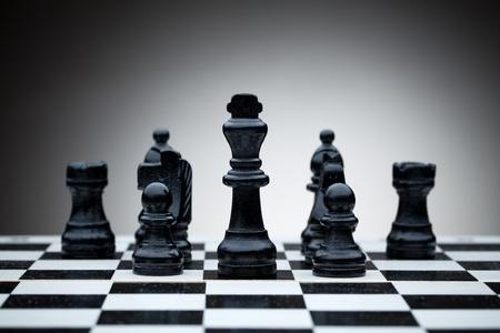 tablero de ajedrez: Las piezas negras del ajedrez