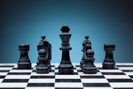 Black chess pieces photo