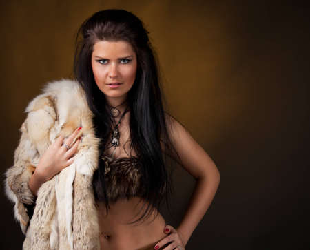 Woman with fur photo