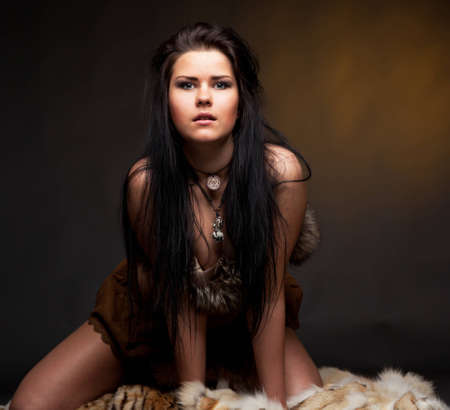Woman with fur Stock Photo - 12835085