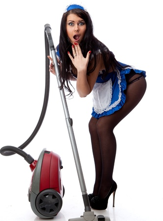 sexy housewife: Young sexy housewife cleaner. Isolated over white.