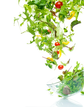 green salad: Flying salad Stock Photo