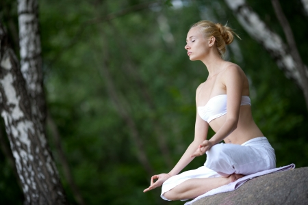 Young girl doing yoga in the park Stock Photo - 14266815