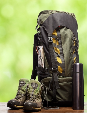 camping equipment: backpack and shoes backpackers Stock Photo