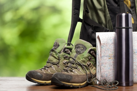 hiking boots: backpack and shoes backpackers Stock Photo