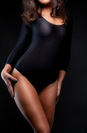 nude black women: Shot of a sexy woman in black lingerie  Stock Photo