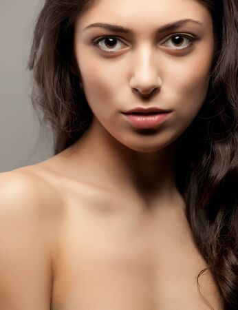 Close-up front view portrait of a beauty young female face Stock Photo - 16660947