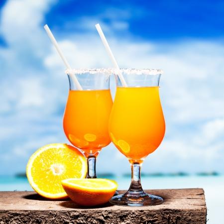 Twee bocals van Tequila Sunrise cocktail Stockfoto