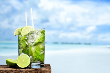 Cocktail mojito on beach photo
