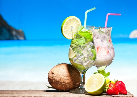 Cocktails on a beach Stock Photo