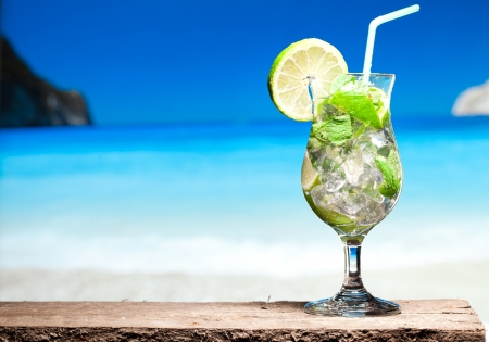 liquid summer: cocktail with lime and mint Stock Photo