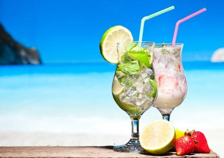 Cocktails on a beach photo