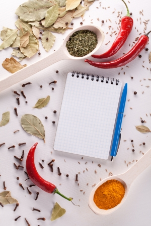 notebook and pen to write recipes photo