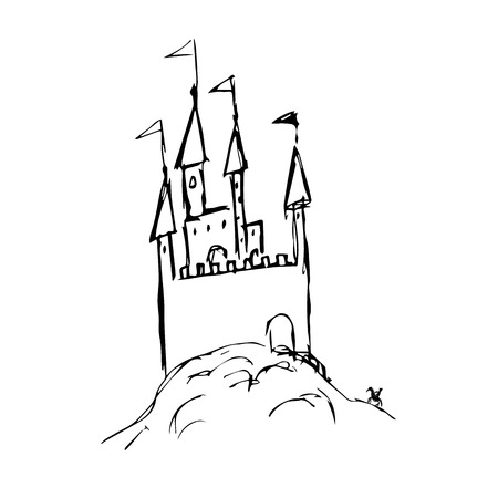 Doodle style castle illustration in vector format Vector