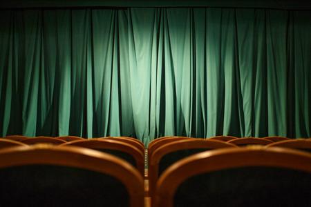 劇場ステージ緑のカーテン 写真素材