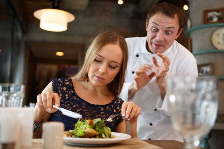 Guest taste a food. Chefs emotion concept photo