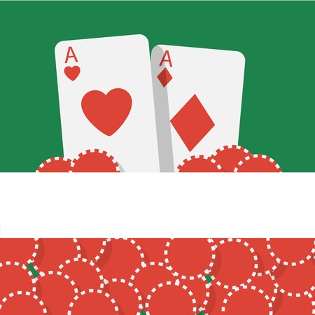 double the chances: Vector poker background with playing cards and chips Illustration