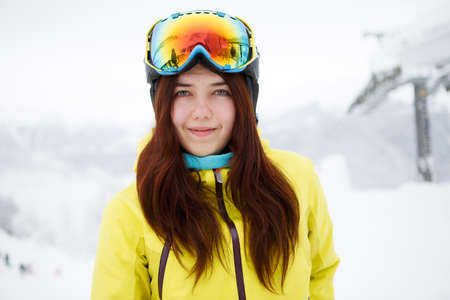 mounts: Woman on the background of snow winter and mounts. Stock Photo
