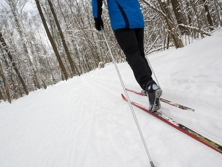 crosscountry: Man cross-country skiing