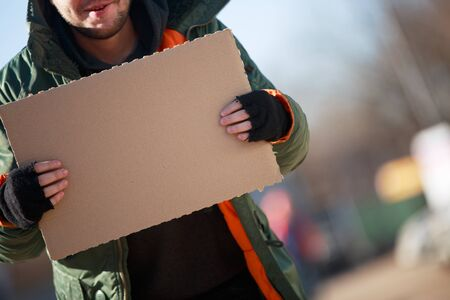 blanck: Homeless person with blanck cardboard Stock Photo