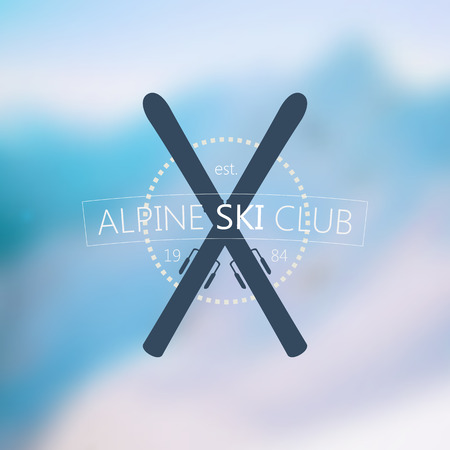snow ski: Alpine ski club logo