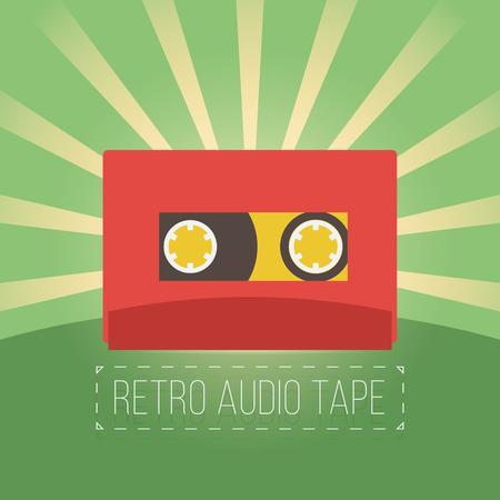 videocassette: Cintas de audio retro en estilo plano