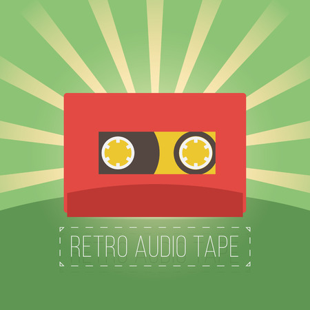 videocassette: Retro audio tapes in flat style