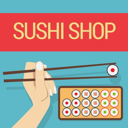 finger fish: Hand with sushi roll Illustration