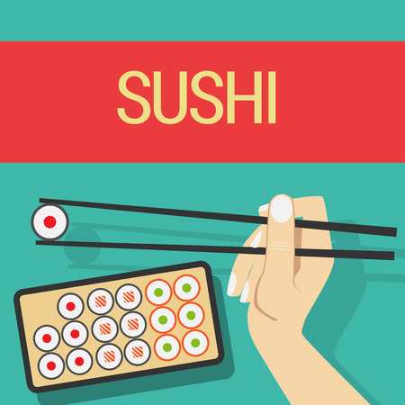 sushi roll: Hand with sushi roll Illustration