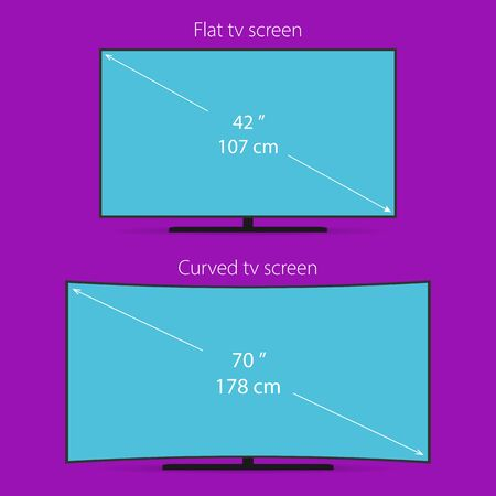 flat panel monitor: Two types of tv screen Illustration