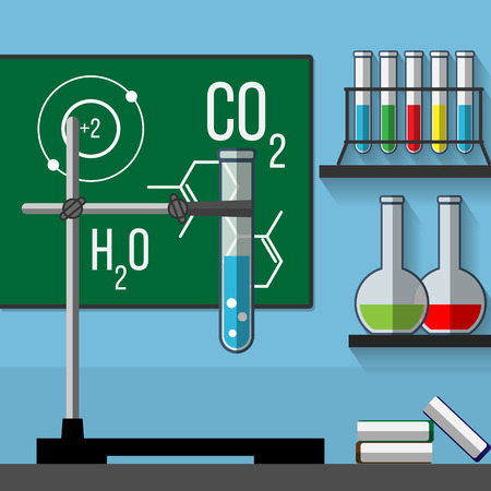 boiling tube: Chemistry classroom. Illustration