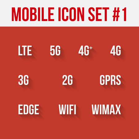 gprs: Mobile telecommunications technology symbol. 10 signs.