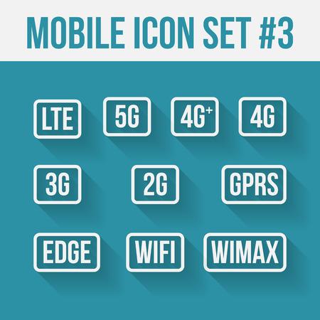 telecommunications technology: Mobile telecommunications technology symbol. 10 signs.