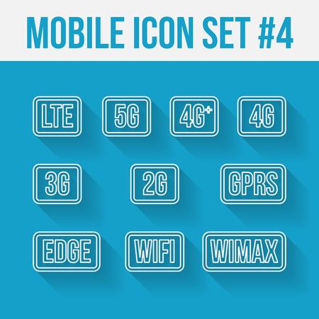 Mobile telecommunications technology symbol. 10 signs.