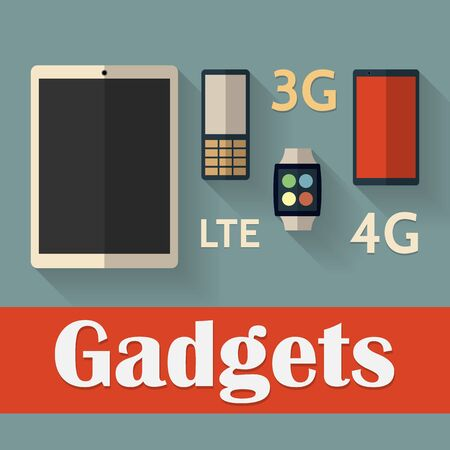 gadget: Gadget icons in flat style.