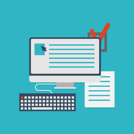 cheque en blanco: Concepto plana de documentos para negocios - ilustración vectorial Vectores