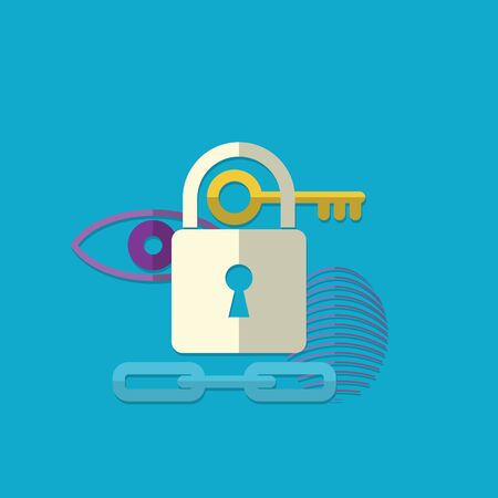 web security: Web security concept icon. Vector illustration in flat style