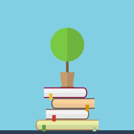 Flat illustration of educaton concept. Books with tree
