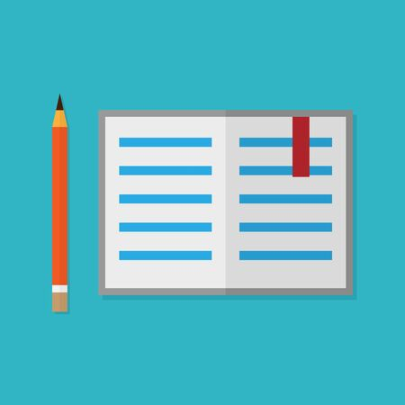 opened book: Flat style pencil and opened book. Vector illustration