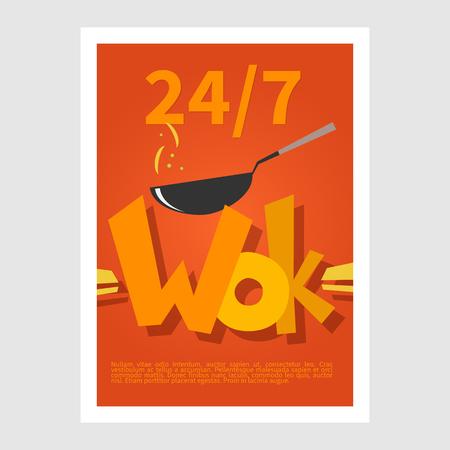 wok: Wok poster. Template poster of  wok restaurant. Flat style illustration