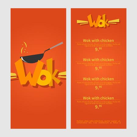 stir: Wok menu. Template menu of  wok restaurant. Flat style illustration