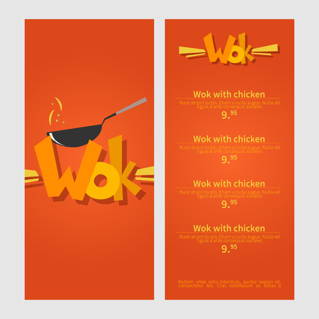 chineese: Wok menu. Template menu of  wok restaurant. Flat style illustration