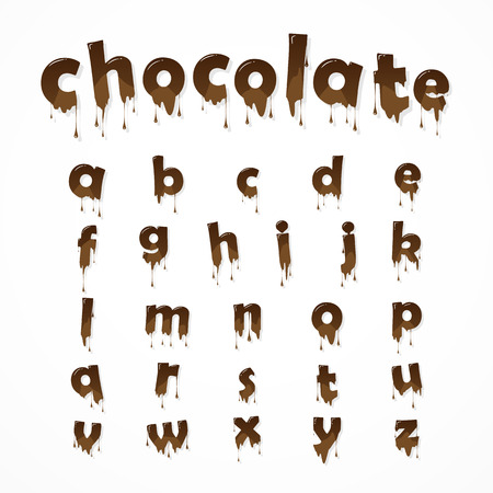 Melted chocolate alphabet over white background.  Lowercase letters. 26 small letters of english alphabet